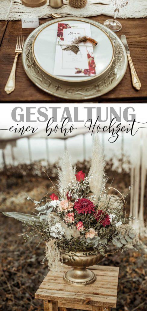 Boho Hochzeit Blumendeko Papeterie