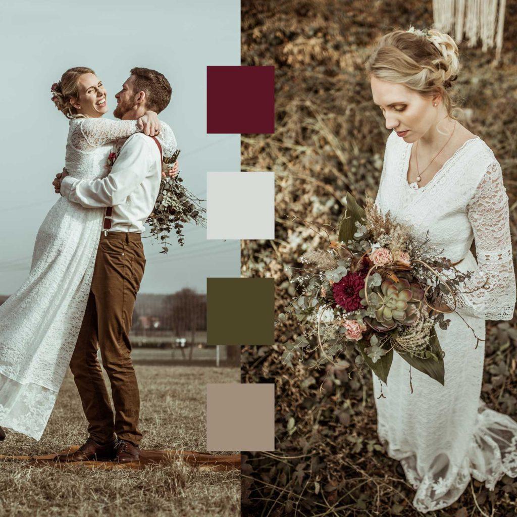 Farbschema Boho Hochzeit Brautpaar
